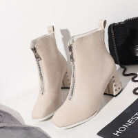 �W�t靴子女米白色高跟短靴女秋2019新款冬季粗跟英��前拉��R丁靴