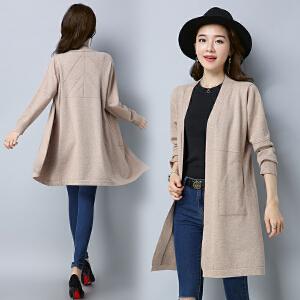 2018新款韩版开衫百搭针织衫毛衣中长款外套长袖大码女装大衣