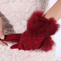 秋冬羊毛手套蕾丝花纹触屏分指手套女士冬天