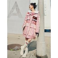 七格格粉色羽绒服女中长款2018新款韩版潮冬季修身过膝厚时尚外套