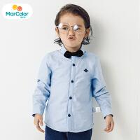 马卡乐童装男宝宝2019冬季新款男童时尚可拆卸领结长袖加绒衬衫