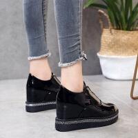厚底内增高松糕鞋女2019春秋季新款女单鞋坡跟高跟黑色小皮鞋子女 黑 色