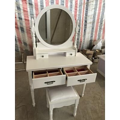 60 80 cm经济型欧式实木梳妆台小户型迷你公主简约田园卧室化妆桌 1米含2个大抽屉包送货安装 带梳妆凳 组装