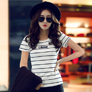 短袖t恤女韩国夏装新款女装体恤上衣修身半袖圆领纯棉条纹t恤WK0890
