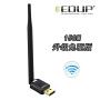 EDUP翼联EP-MS8552C 150M免驱无线网卡 USB网卡 台式机无线网卡 无线WiFi信号接收器 即插即用免驱动,外置天线