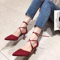 罗马凉鞋仙女2019夏季新款韩版百搭网红色尖头绑带细跟少女高跟鞋