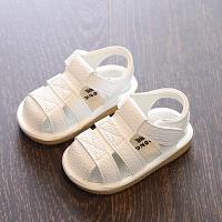 2019年夏季新款童鞋真皮男女宝宝凉鞋0-1-2-3岁婴儿学步鞋包头凉鞋婴幼儿软底防滑凉鞋儿童叫叫鞋