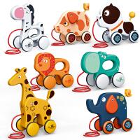 儿童拖拉玩具 宝宝手拉绳牵引动物小狗拉着走婴儿爬行学步拉线车