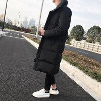 男士棉衣男中长款加厚冬季新款羽绒青年韩版潮流保暖棉袄外套 优雅黑
