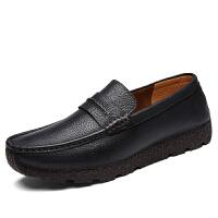春季男士豆豆鞋韩版百搭个性软底复古厚底圆头耐穿增高休闲皮鞋