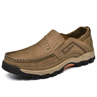 登山鞋男防水耐穿透气徒步鞋厚底软底圆头潮耐磨户外休闲皮鞋