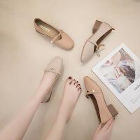 大东同款单鞋女新款蝴蝶结软底玛丽珍鞋秋百搭粗跟中跟浅口奶奶鞋