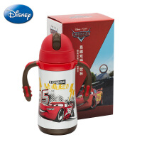 迪士尼保温杯米奇儿童水杯 不锈钢带吸管水壶 双把手学饮保温杯