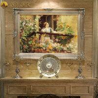 欧式油画手绘客厅壁画宫廷人物画走廊挂画创意餐厅玄关装饰画过道 170*95 连框尺寸10-15天发货
