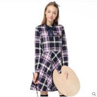 收腰大裙摆时尚气质裙学院甜美风学生长袖娃娃领修身格子连衣裙