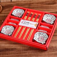 结婚回礼伴手礼陶瓷餐具乔迁礼品寿宴碗筷碟子套装12件套