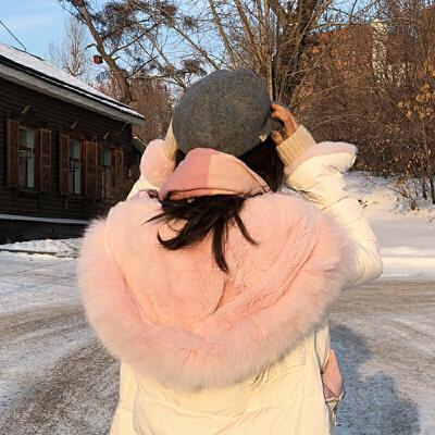 羽绒服女2017冬装新款韩国显瘦超大毛领连帽白色中长款加厚外套潮