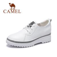 Camel/骆驼女鞋  新款春鞋 简约中跟系带百搭小白鞋舒适单鞋