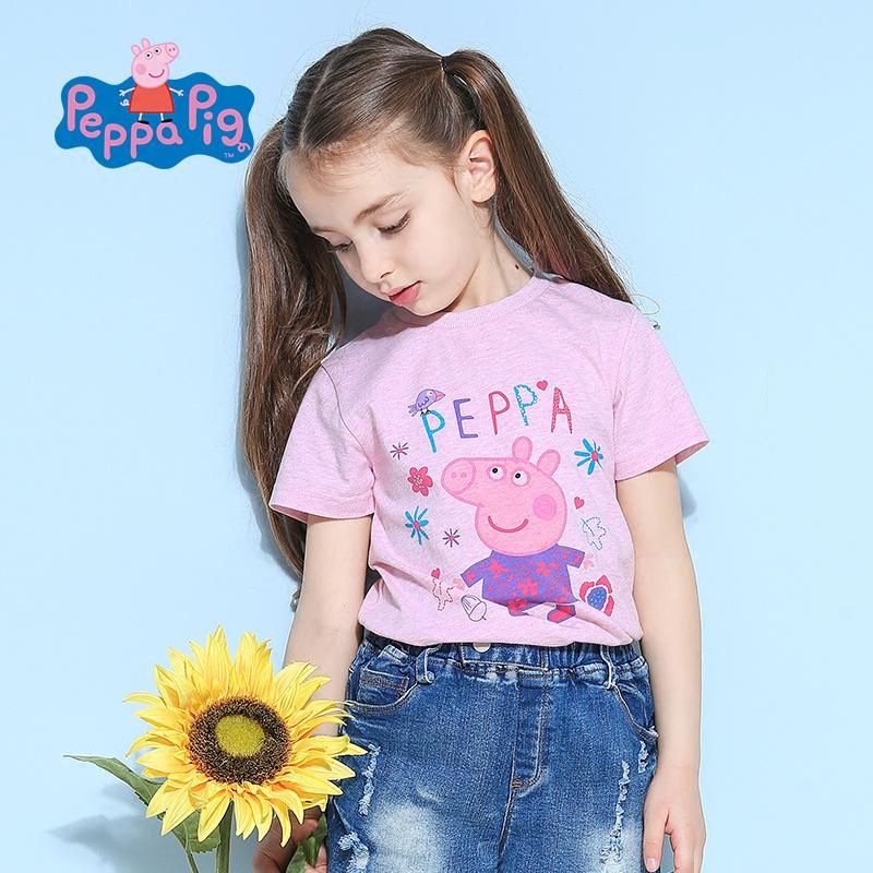 【每满100减50】小猪佩奇正版童装女童夏装纯棉短袖圆领T恤粉色可爱小猪印花全棉上衣粉红猪小妹