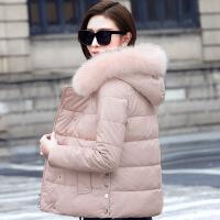 反季PU皮女棉衣服2018新款女冬季小棉袄羽绒毛领外套韩版短款
