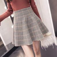 格子百褶裙女秋冬2018新款蓬蓬裙高腰a字毛呢短裙ins超火的半身裙