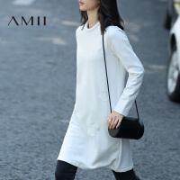 Amii[极简主义]冬女装新刺绣圆点拼接长袖大码T恤连衣裙11633975