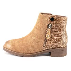 【3折到手价149.7元】索菲娅Safiya牛皮圆头低跟拉链皮革拼接深口女鞋SF54110099