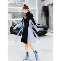 针织长袖连衣裙秋装女新款冬季韩版气质高领拼接中长a字裙子