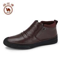 骆驼牌男短靴子 新品时尚简便拉链真皮男鞋柔软耐磨男靴