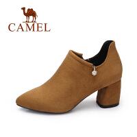 camel/骆驼女鞋 2017秋季新款英伦风舒适简约尖头高跟鞋百搭粗跟单鞋女