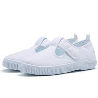 儿童白色学生球鞋男童白布鞋宝宝帆布鞋