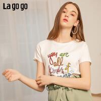 Lagogo/拉谷谷2019新款撞色字母胶印亮丝T恤女IATT315A03