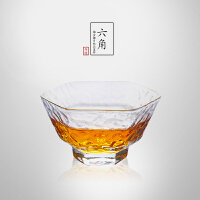 当当优品 描金梅花锤目纹品茗杯 光阴系列 手工高硼硅玻璃茶杯 功夫茶具