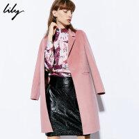【羊绒大衣Lily2018冬新款女装直筒双面呢外套中长款羊绒大衣