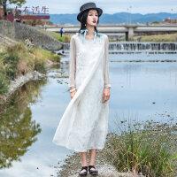 生活在左2019春款新品长袖连衣裙仙气质亚麻裙子拼真丝桑蚕丝长裙