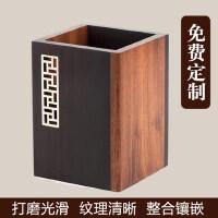 实用黑檀木雕刻笔筒红木质中式创意个性定制刻字印logo商务礼品