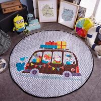全棉圆形游戏地垫 纯棉宝宝防滑爬爬垫爬行垫 儿童房毯垫可收纳