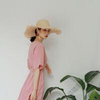 法式复古收腰绑带连衣裙气质粉宽松大摆度假裙时尚简约飘逸长裙夏 烟粉色 均码