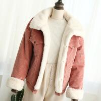 2018秋冬季韩版灯芯绒外套女短款加厚学生BF风羊羔毛棉衣宽松 X