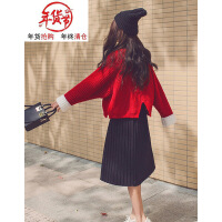 胖mm洋气心机套装时髦减龄微胖大码女装秋冬加厚毛衣配裙子两件套 红色毛衣+黑色百褶裙