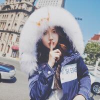 大毛领羽绒服女中长款2018新款韩版宽松过膝连帽加厚保暖冬装外套 图片色