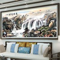 流水生财十字绣线绣新款2018大幅客厅中国风景古典刺绣山水画满绣