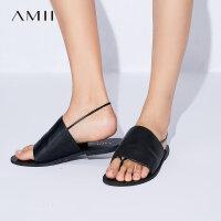 【大牌清仓 5折起】Amii[极简主义]2017新款简洁舒适宽面夹趾平底牛皮凉鞋女11773335