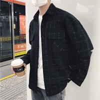春秋日系复古港风时尚格子衬衣男士宽松bf风韩国日韩风长袖衬衫