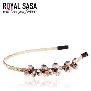 皇家莎莎RoyalSaSa饰品韩版细发箍手工发卡人造水晶花朵韩国头饰卡子发饰头箍