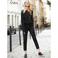 【预估价134元】Amii极简cec高腰破洞牛仔裤女2019秋季新款全棉直筒显瘦休闲裤子