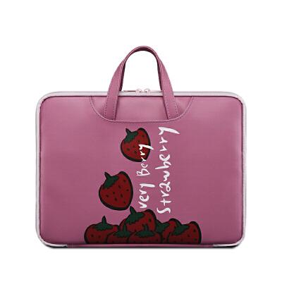 苹果笔记本电脑包macbookair13.3寸内胆13pro好看的ins手提女时尚可爱小清新15.6 berry strawberry【有拉杆箱带】