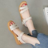 夏季新款魔术贴平底凉鞋女平跟真皮韩版舒适百搭休闲学生女鞋