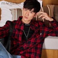 【超值价:209元,3.29日0点开抢】太平鸟男装 新款时尚潮流韩版长袖衬衣红黑格纹口袋刺绣帅气衬衫