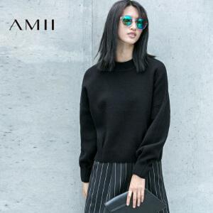 AMII[极简主义]女装冬装新品直筒长袖大码套头半高领毛衣